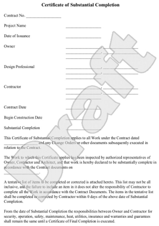 Certificate of completion construction