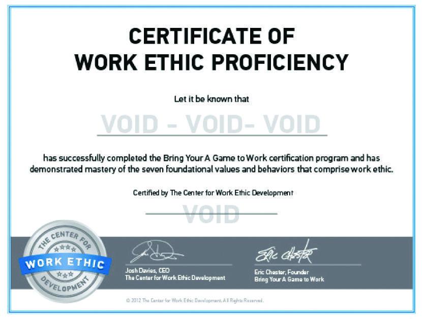 Certificate of Proficiency Sample