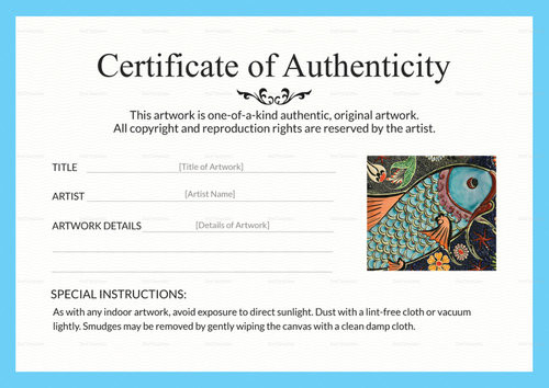 Certificate of Authenticity for Artist