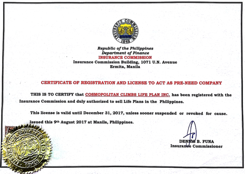Certificate of Authority Insurance