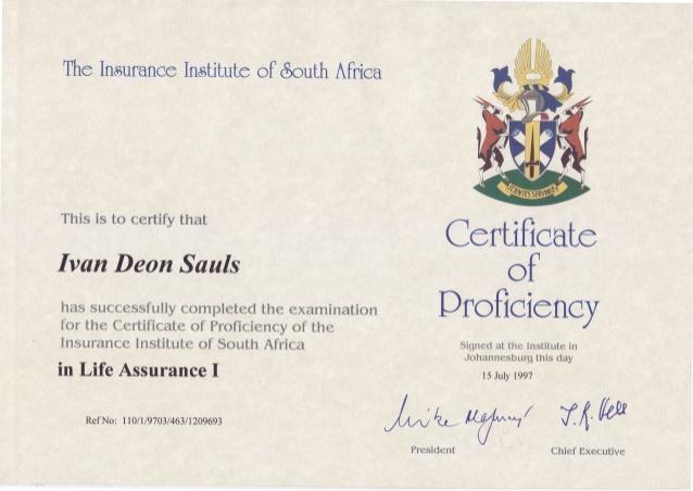 Certificate of Proficiency in Insurance