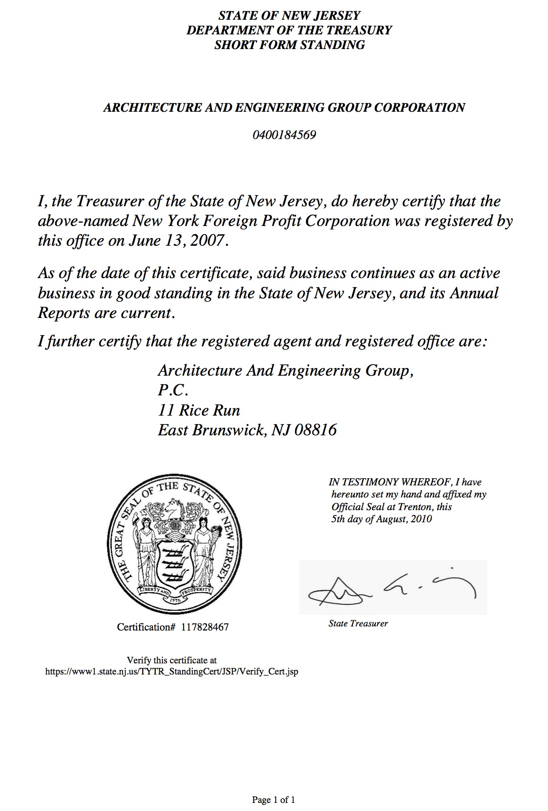 New Jersey Certificate of Authority
