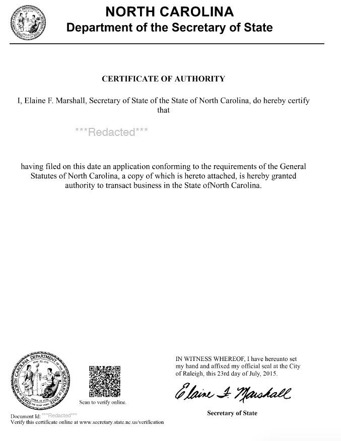 North Carolina Certificate of Authority