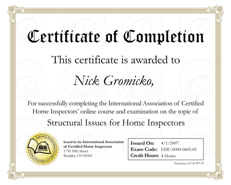 certificate of completion of PROJECT