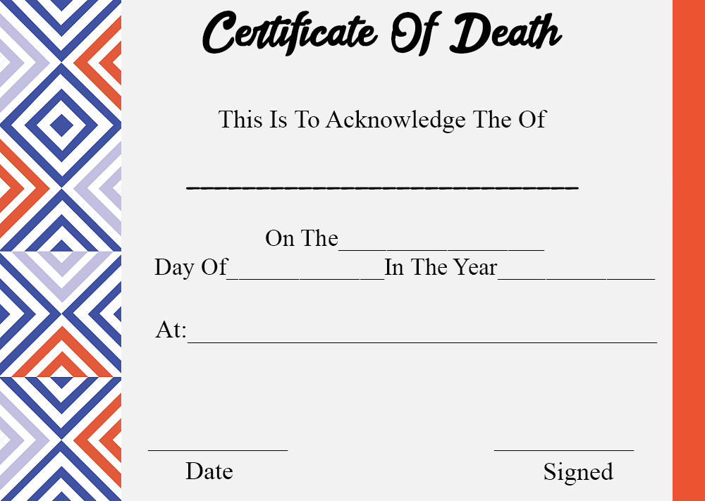 Certificate of Death Templates
