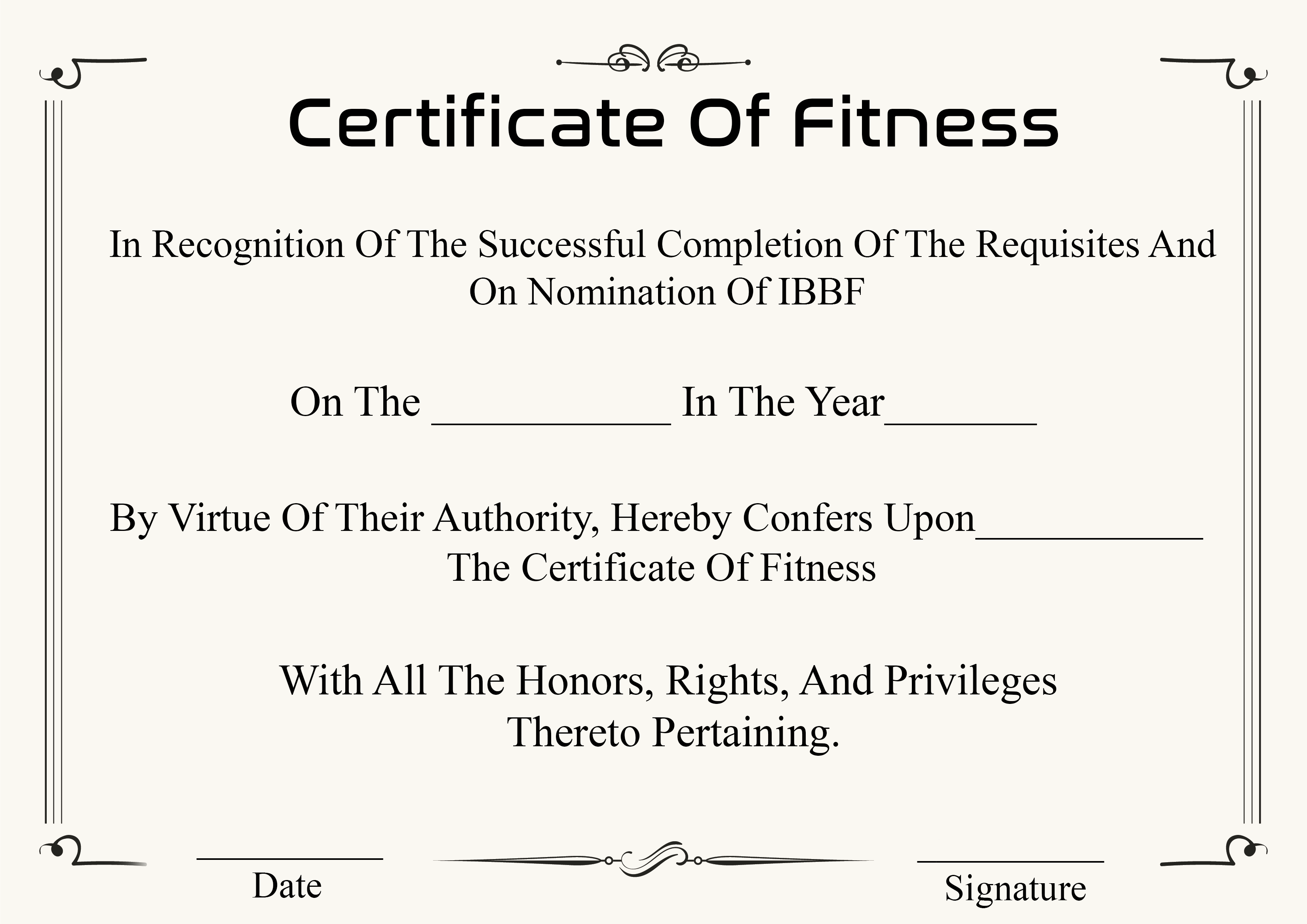 Certificate of Fitness Templates