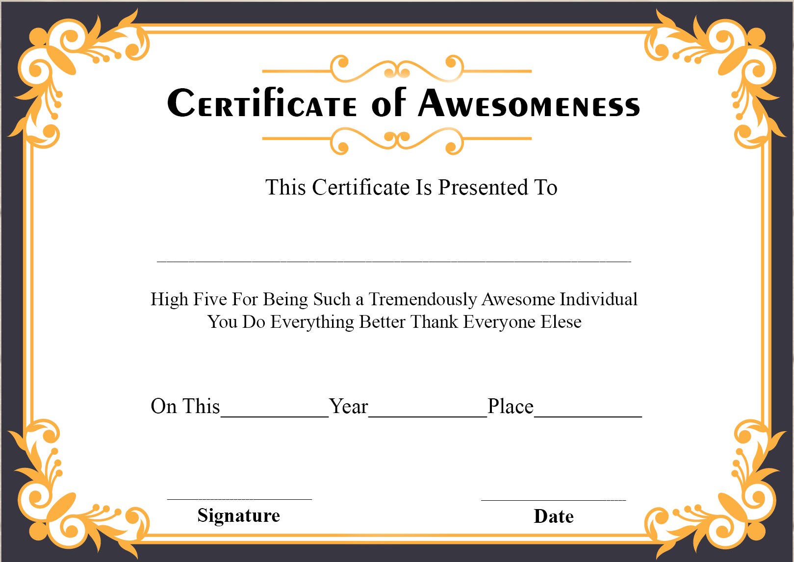 Certificate of Awesomeness Printable