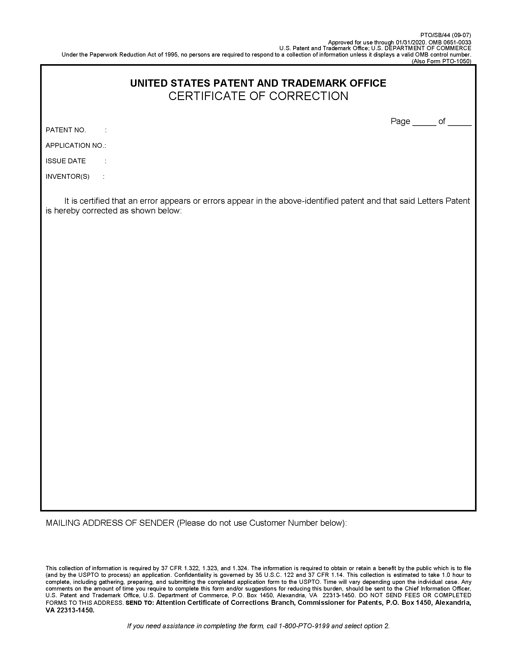 Certificate of Correction of name