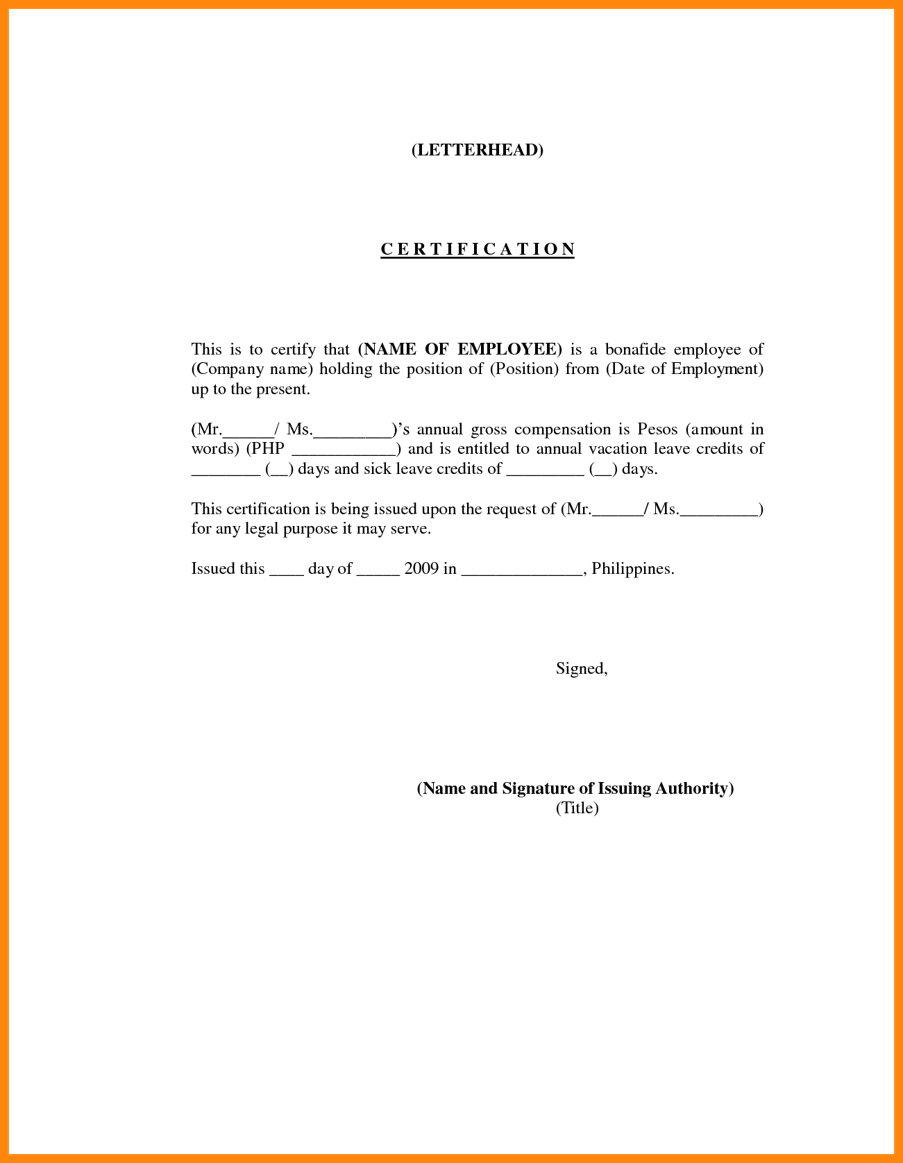 Certificate of Employment For Nurses