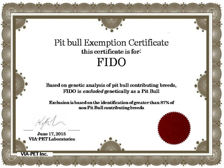 Certificate of exemption