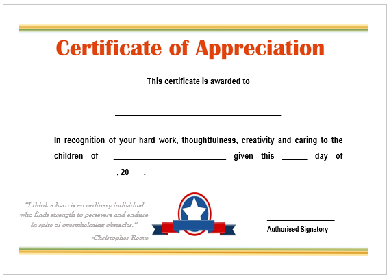 Certificate of Recognition For Teacher