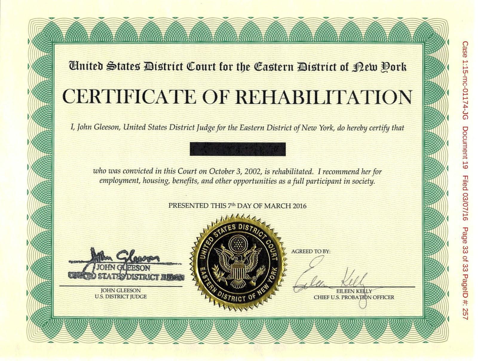 Certificate of Rehabilitation Sample