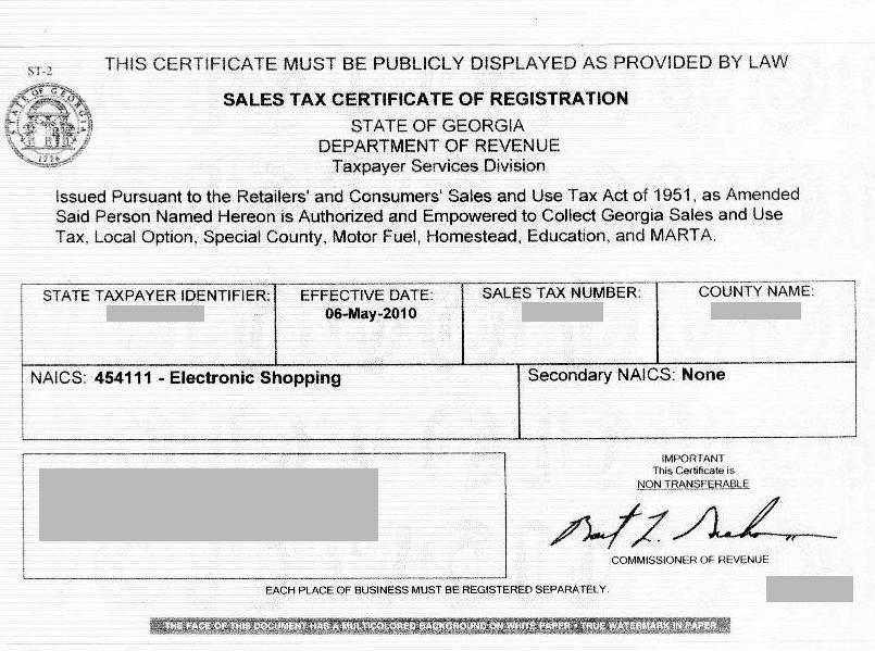 Resale Tax Certificate