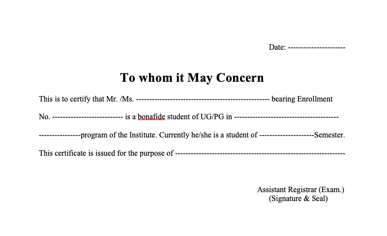 Employment Certificate to Whom it May Concern