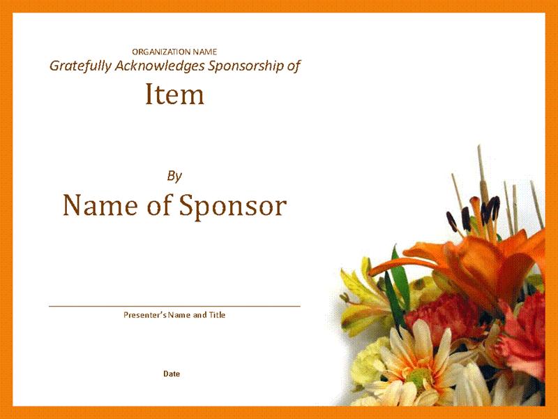 Certificate of Appreciation For Sponsorship