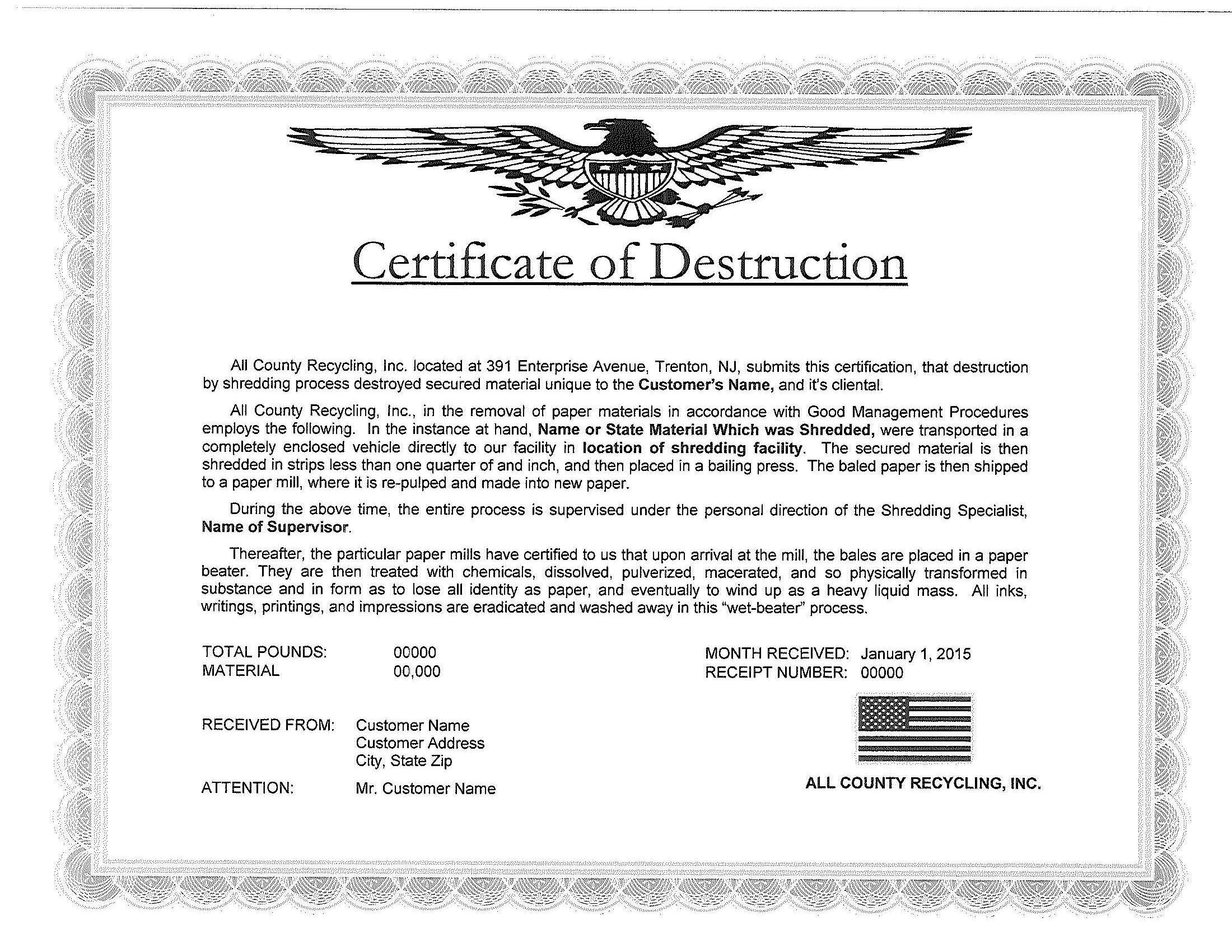 Certificate of Destruction