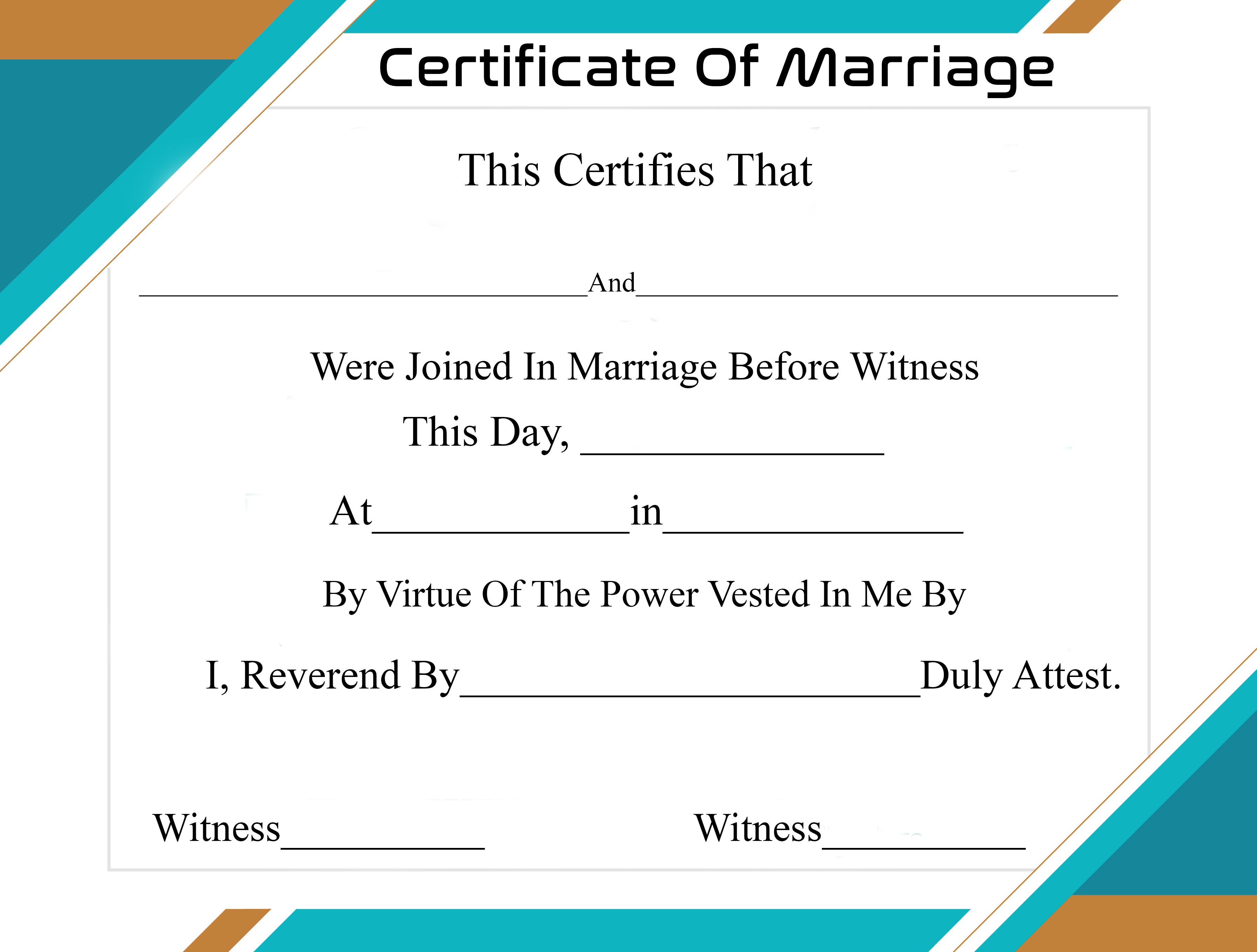 Certificate of Marriage Templates