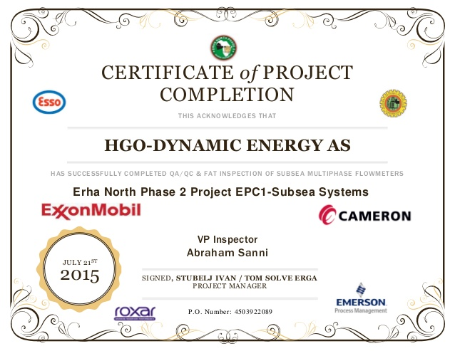 What is Certificate of Project