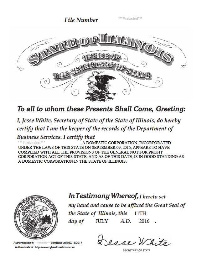 Certificate of good standing Illinois