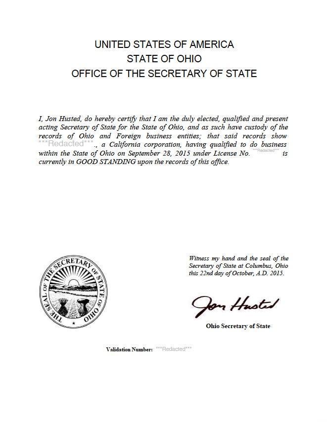 certificate of good standing California