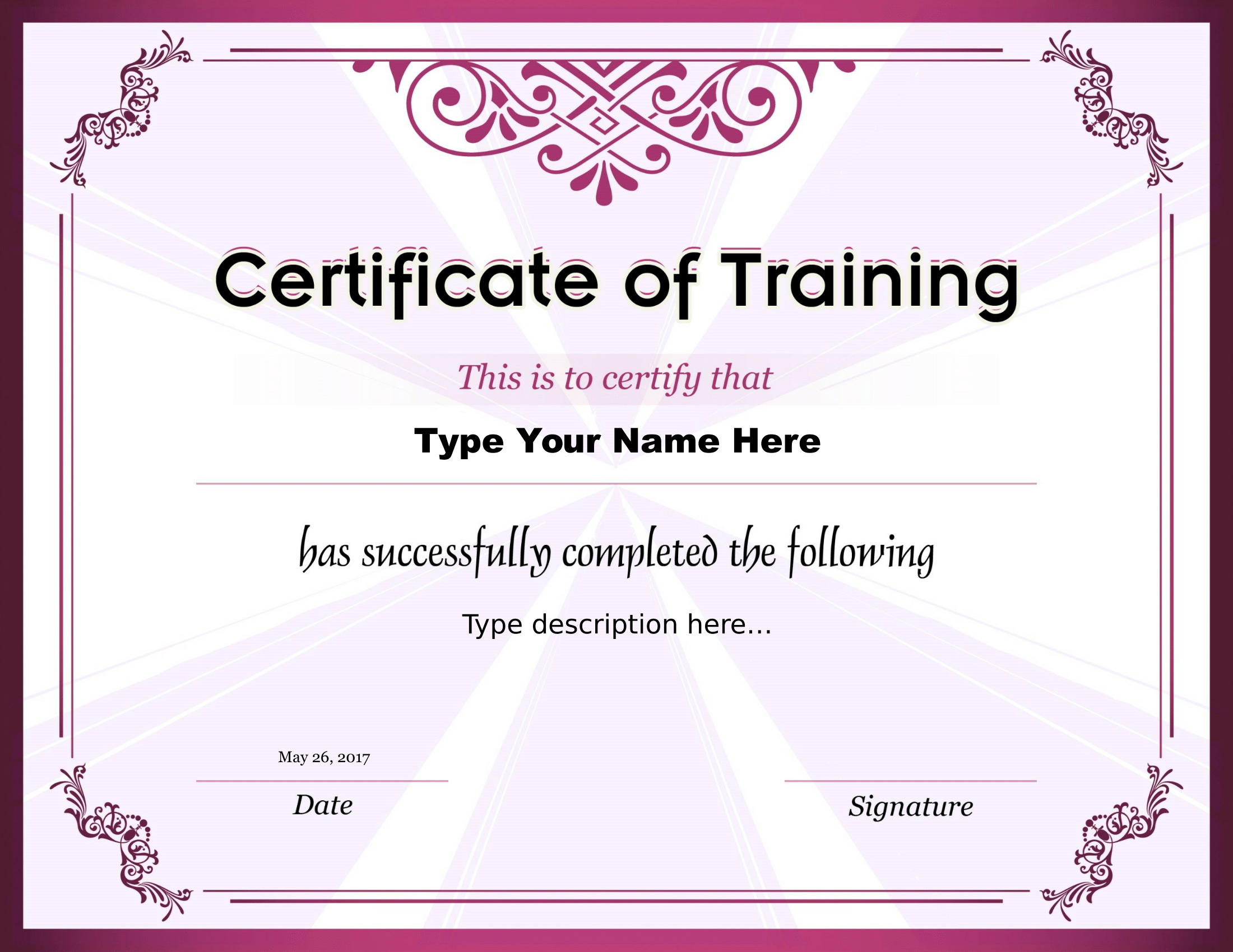 Certificate of Training Sample
