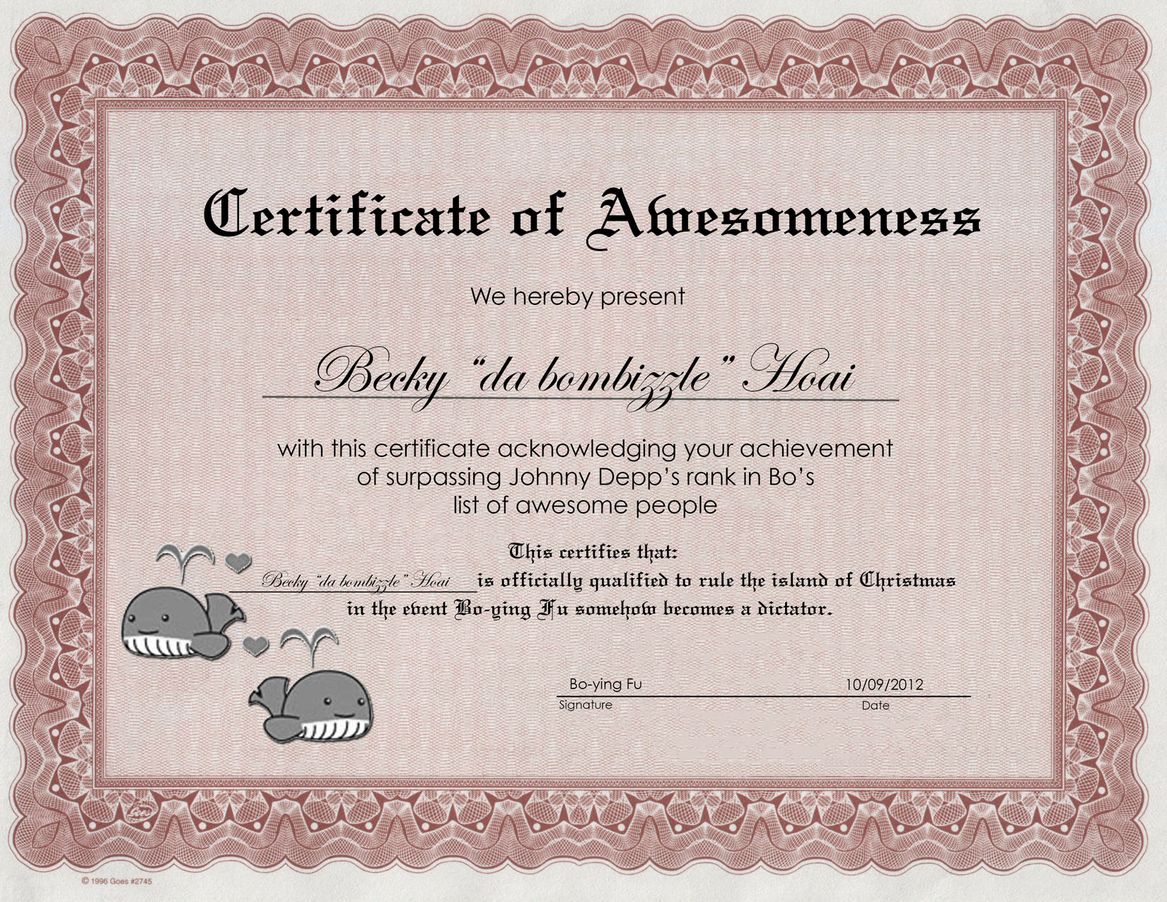 Certificate of Awesomeness Sample