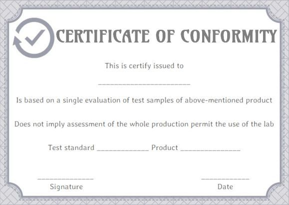 The Certificate of Conformity Template