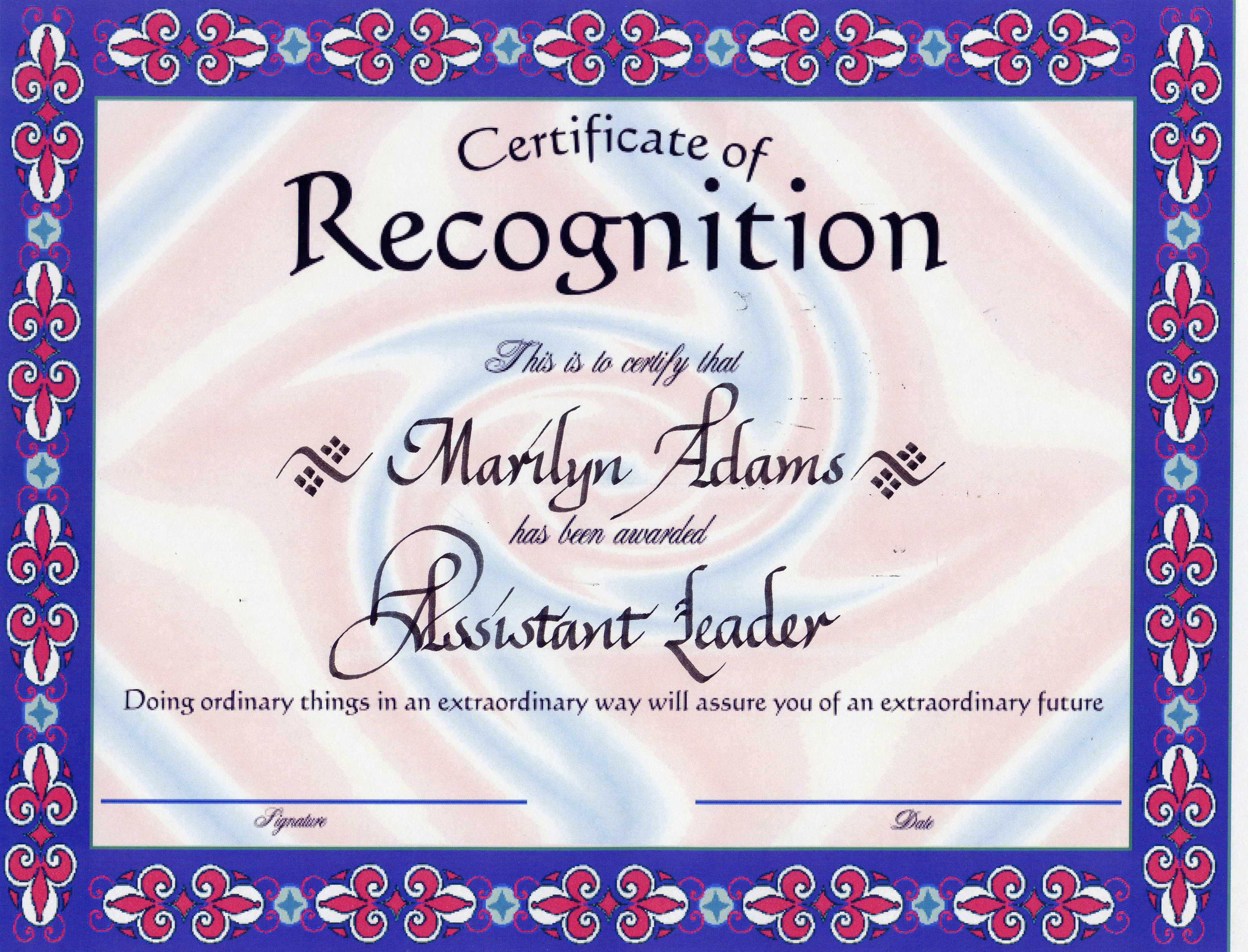What is Certificate of Recognition