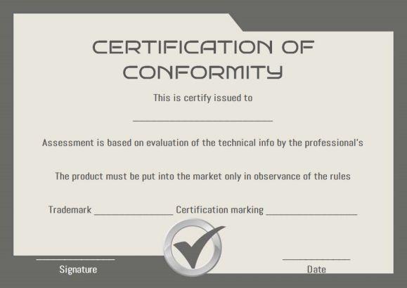 COC Certificate of Conformity