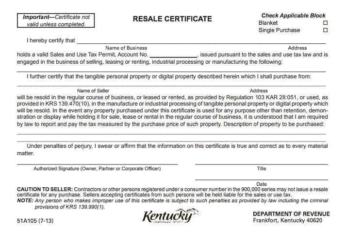 Certificate of Resale Illinois