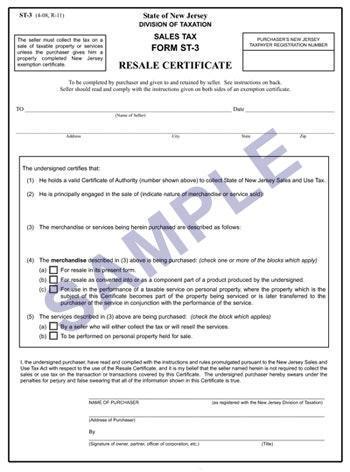 Certificate of Resale Sample