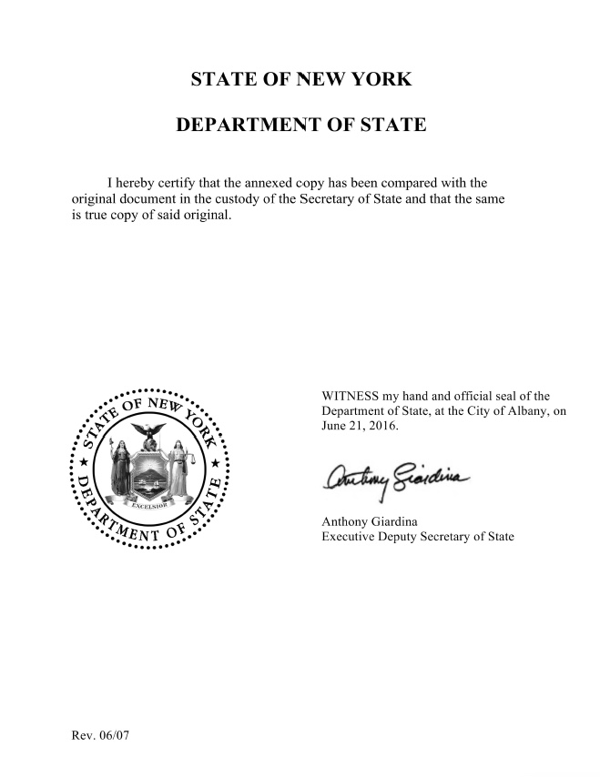 certificate of good standing NY