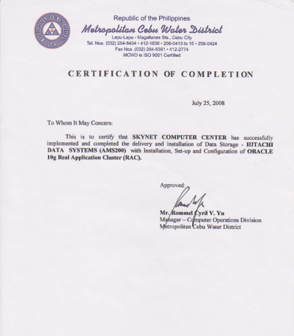 Certificate of Project Sample