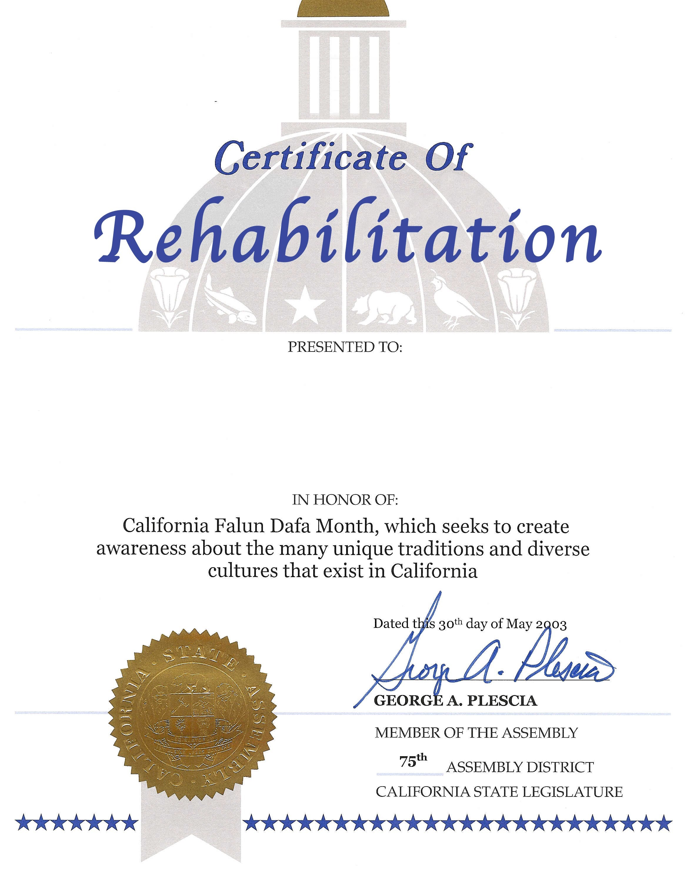 Certification of rehabilitation