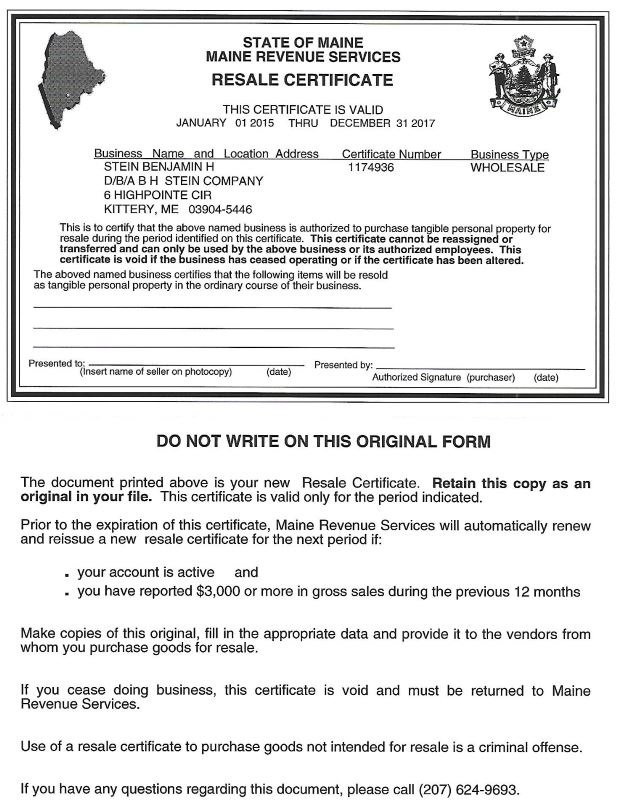 certificate of resale