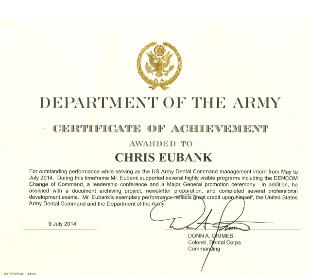 Army Certificate of Achievement