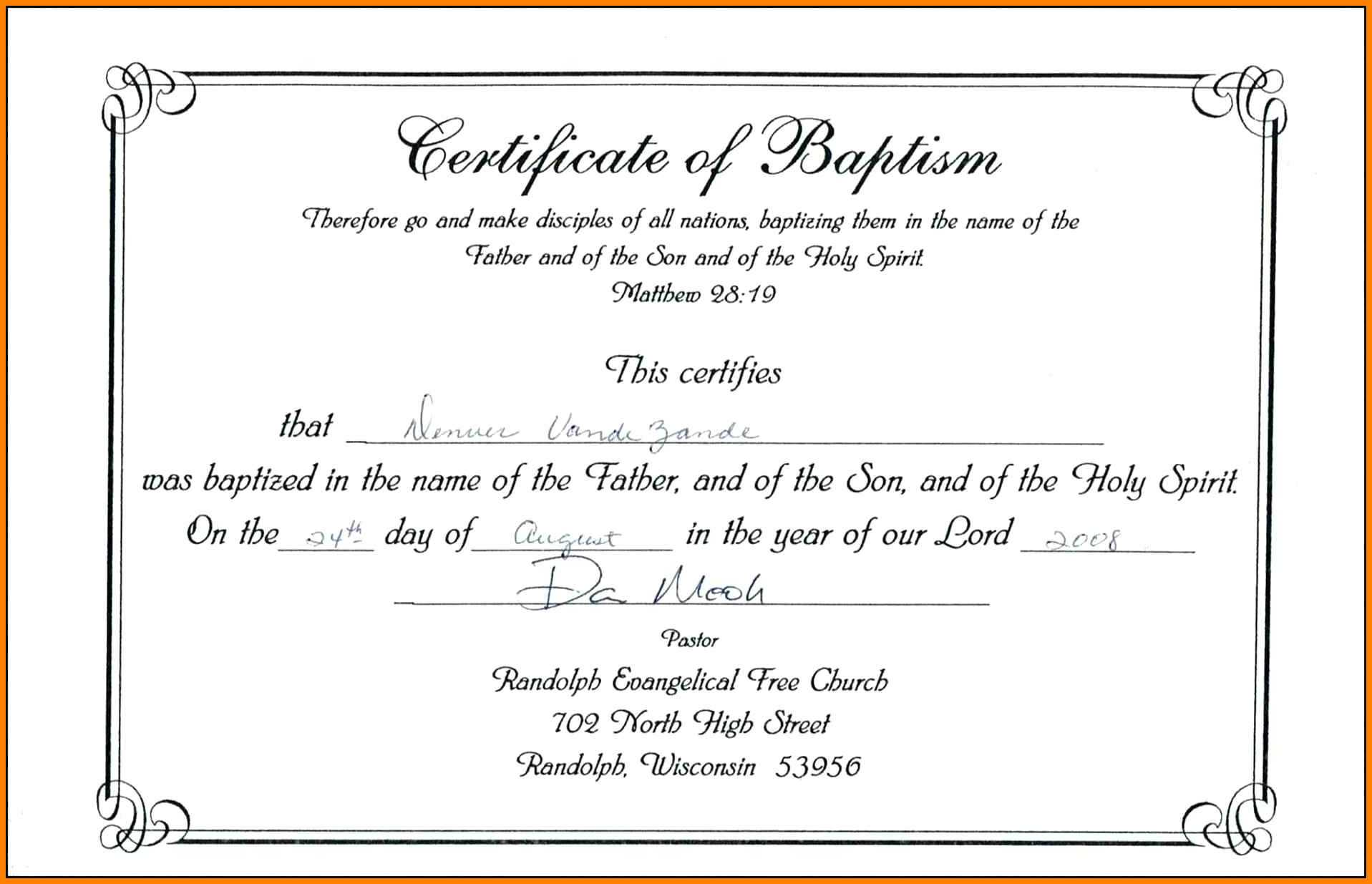 Certificate of Baptism Catholic