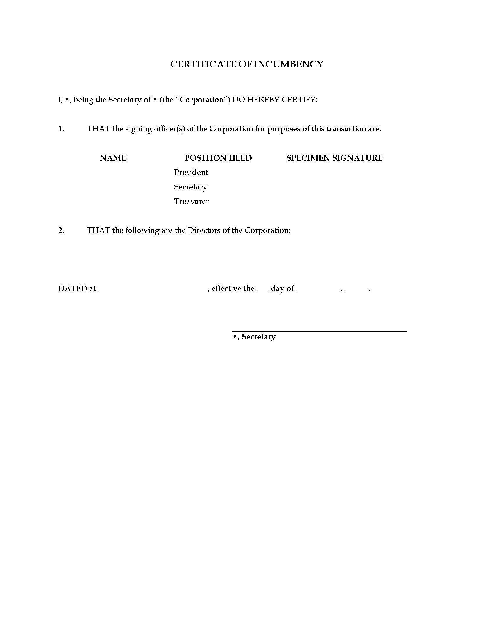 Certificate of Incumbency Template
