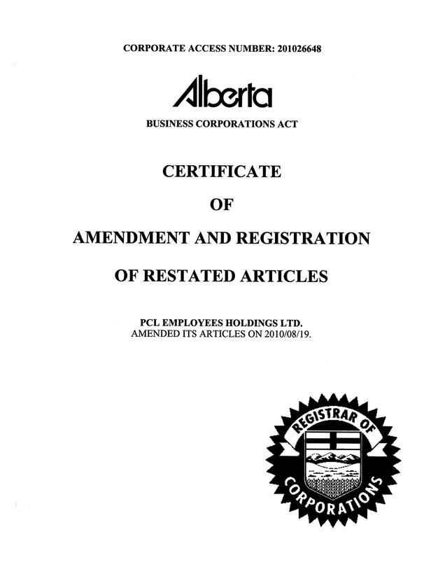 What is Certificate of Amendment?