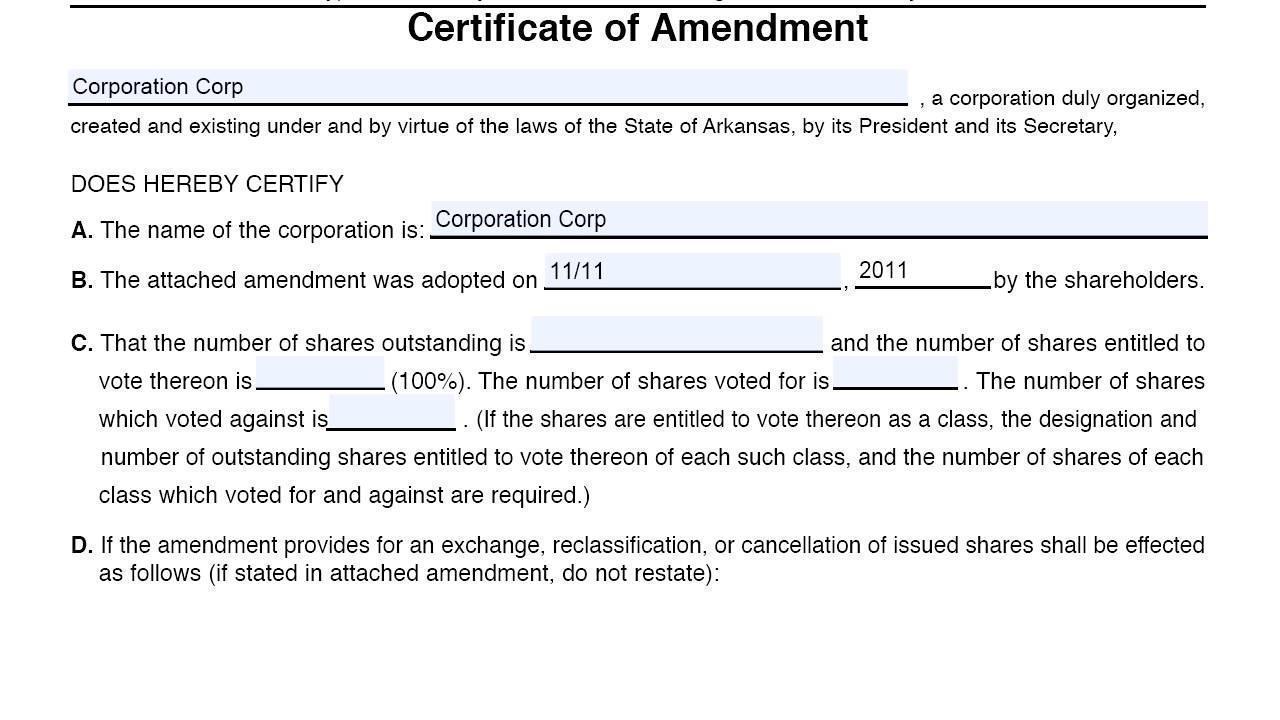 Certificate of Amendment