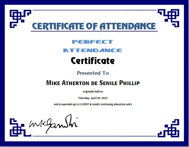 Attendance Certificate Format for the Employees