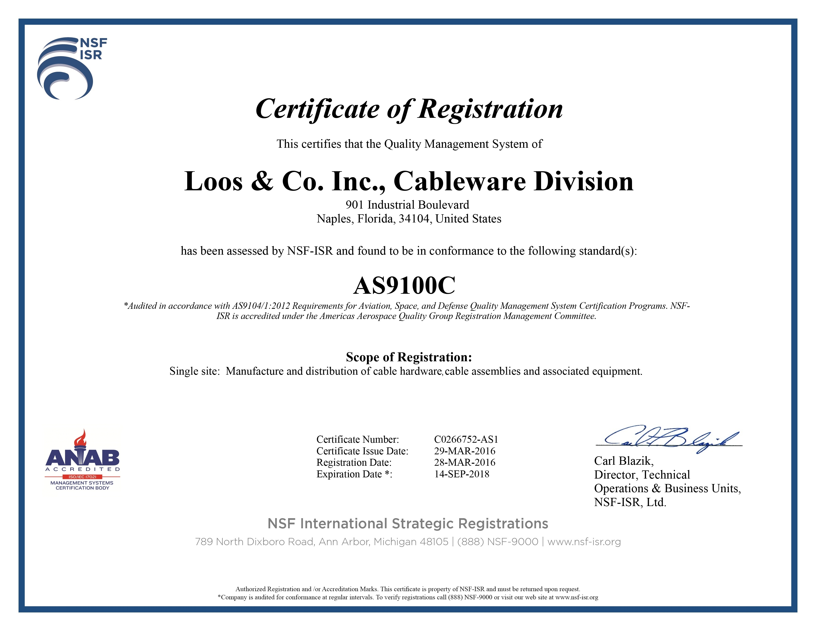 Company Certificate of Registration
