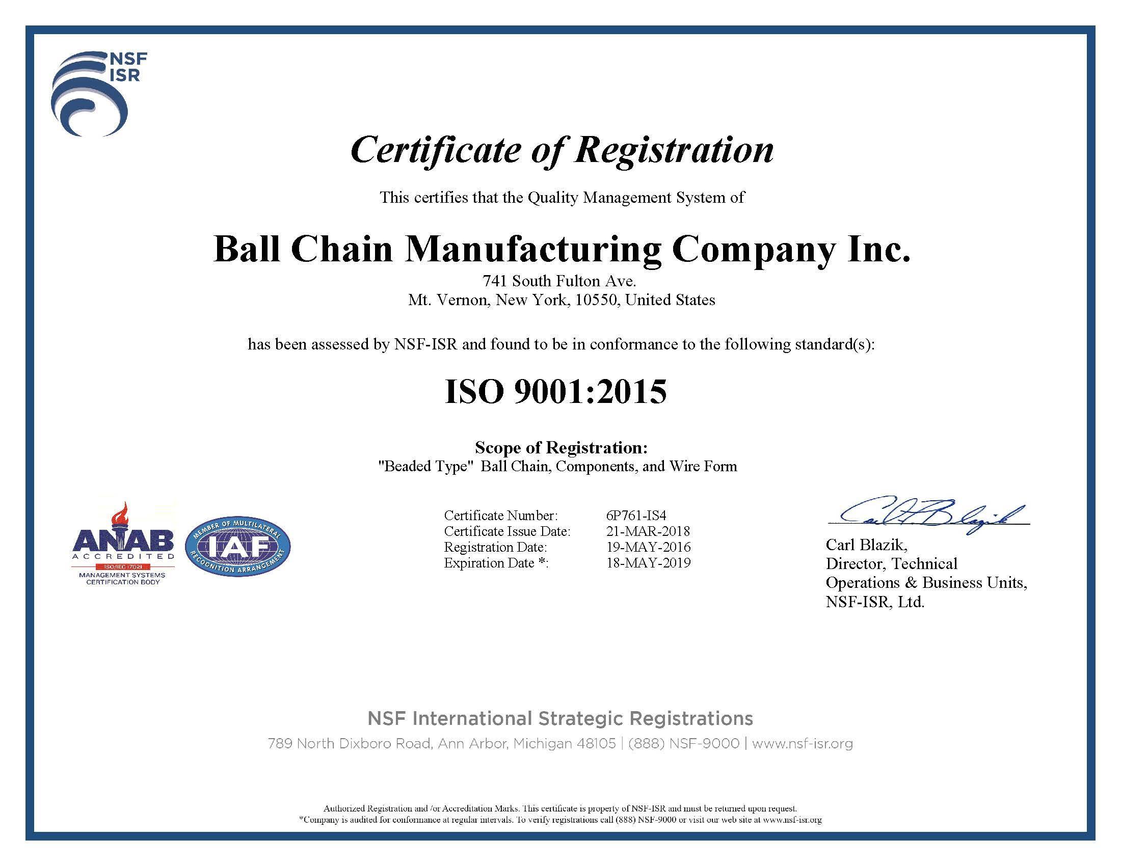 Certificate of Manufacturing