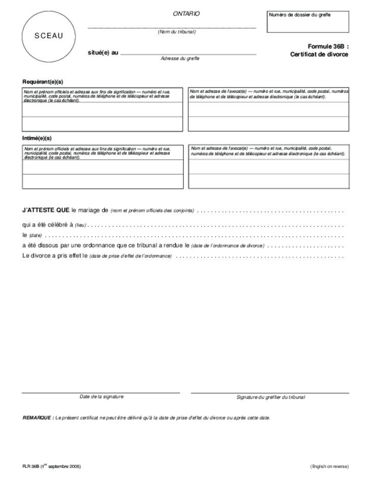 Certificate of Divorce Ontario