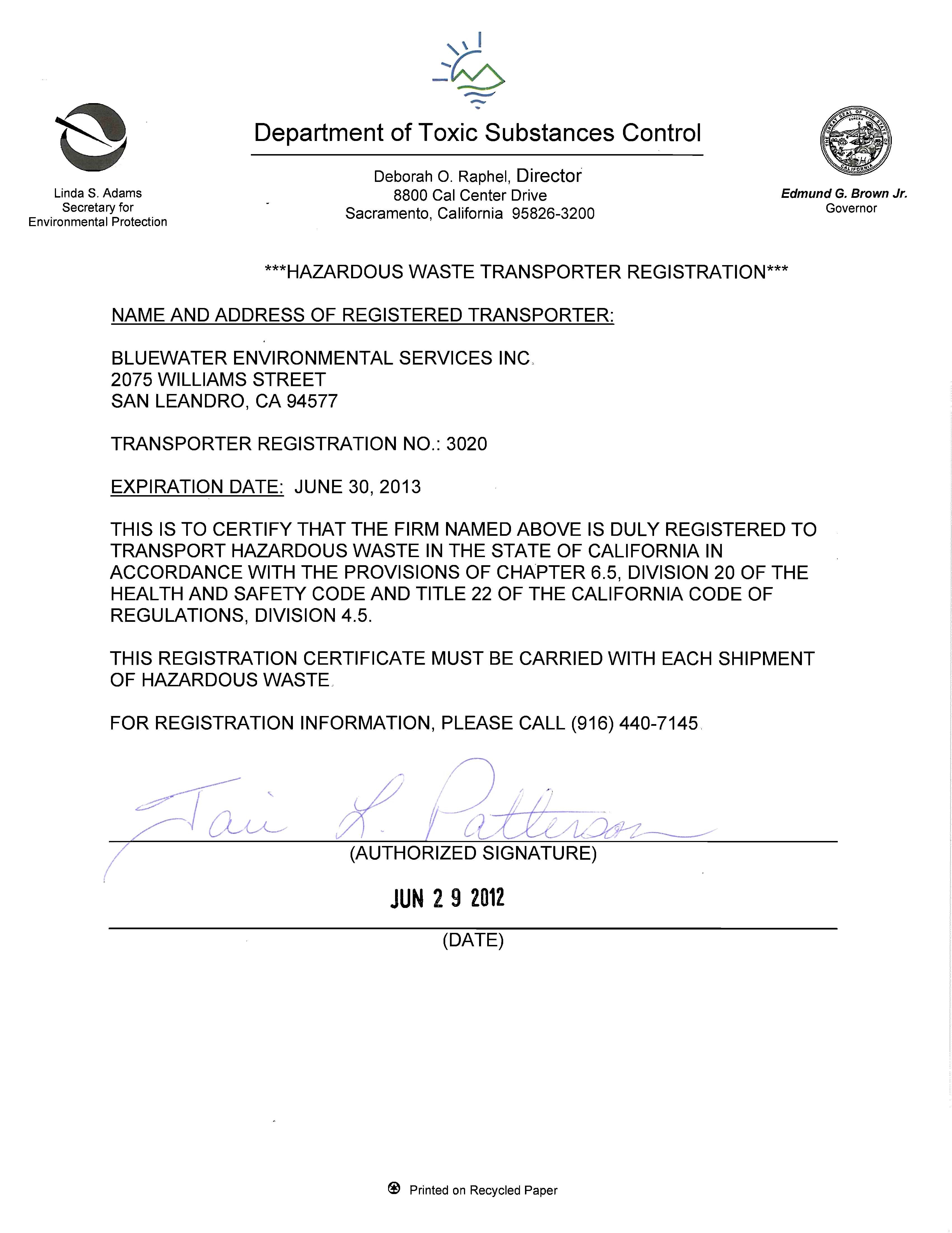 Hazardous Material Certificate of Registration