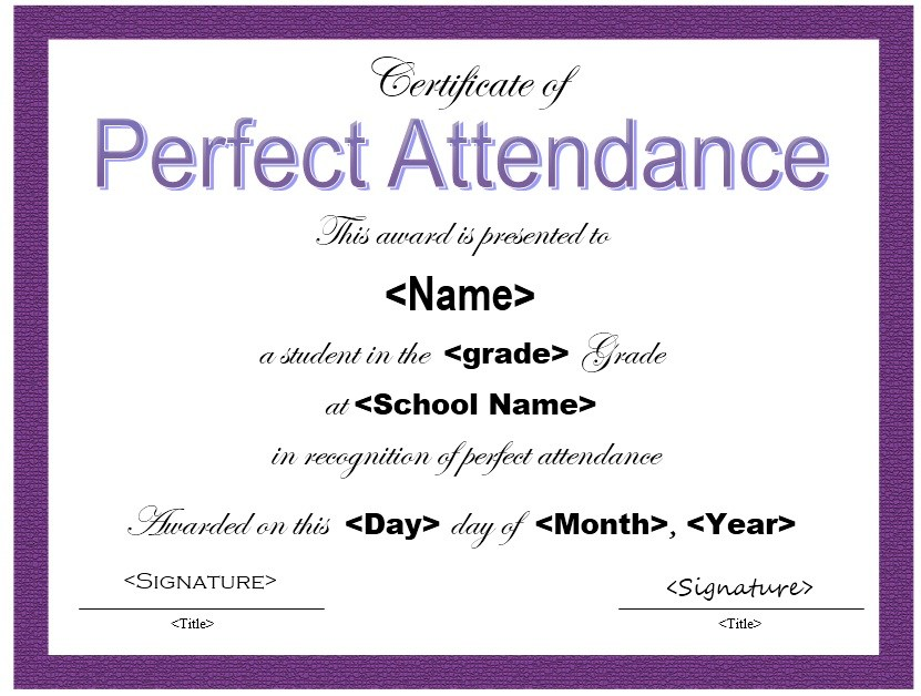 Attendance Certificate Format for the Students