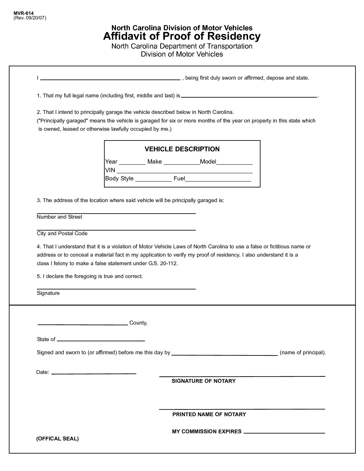 Affidavit Certificate of Residency ILLONIS