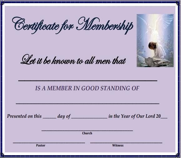 Certificate of Membership Sample