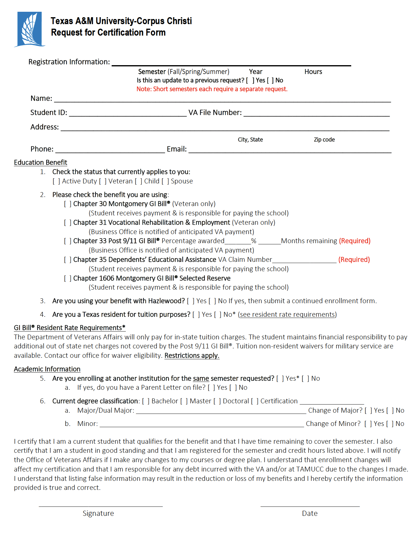 VA Certificate of Eligibility Education