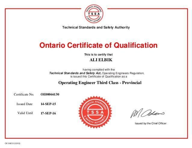 Certificate of Qualification Ontario
